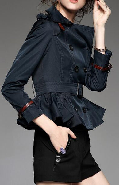 Romoti Holds My Breath Flounce Hem Lapel Coat
