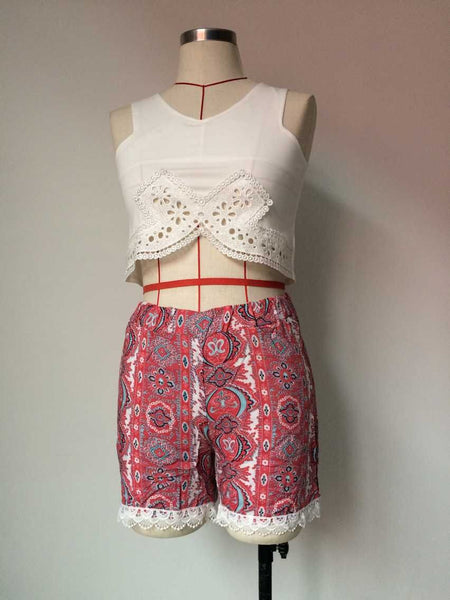 Romoti Hollow Out Crop Top And Floral Lace Short Two Piece Set
