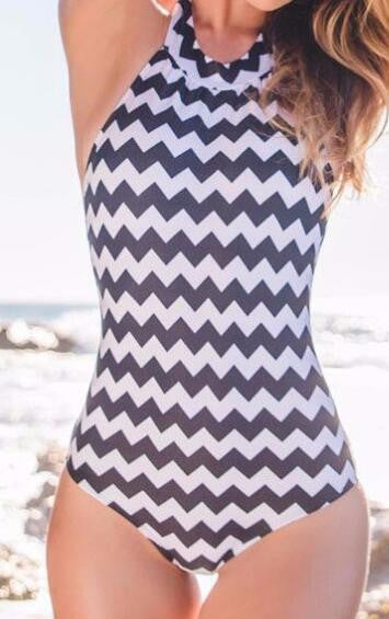 Romoti Kind Of Simple Wavy Stripe One Piece Swimsuit