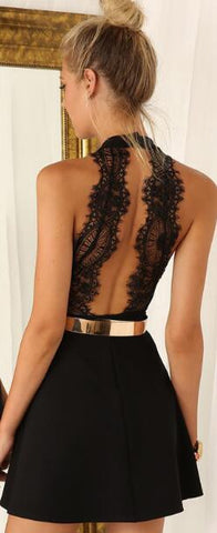 Romoti Kiss Of Night Black Lace Open Back Dress
