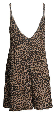 Romoti Leopard Print Spaghetti Straps Mini Dress