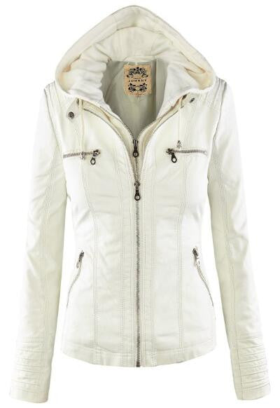 Romoti Love Youself PU Hooded Jacket