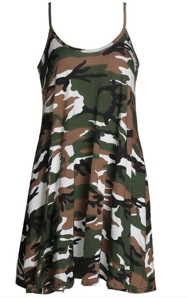 Romoti My Day With Army Camo  Spaghetti Straps Mini Dress