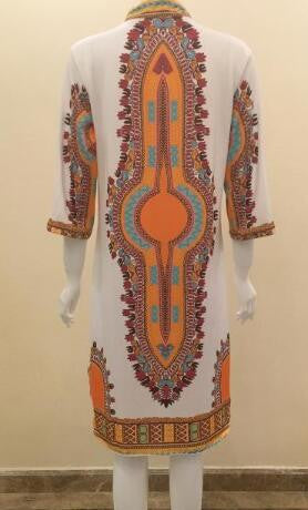 Romoti My Day With Ethnic Print Plunging Neck Dress