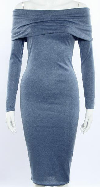Romoti Never Enough Off The Shoulder Gray Bodycon Dress