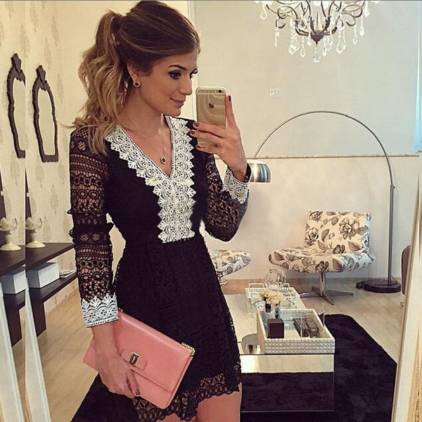 Romoti Office Lady Sheer Lace V Neck Dress