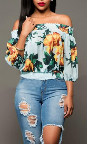 Romoti On Your Way Floral Off The Shoulder Top