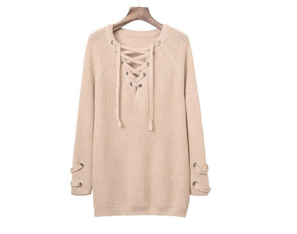 Romoti Open My Mind Lace Up Long Sweater
