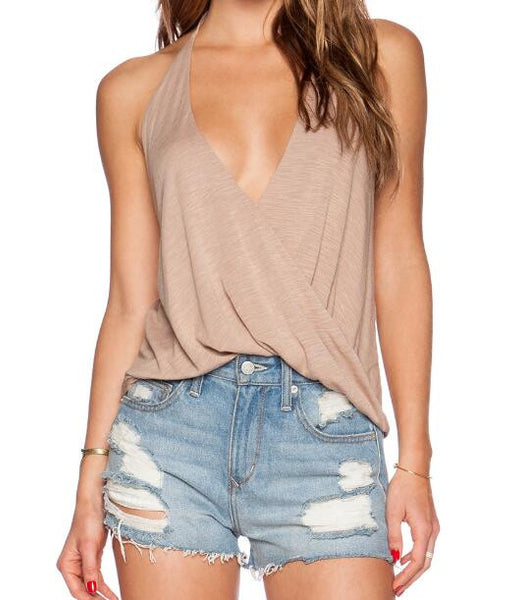 Romoti Overlapping Halter Crop Top