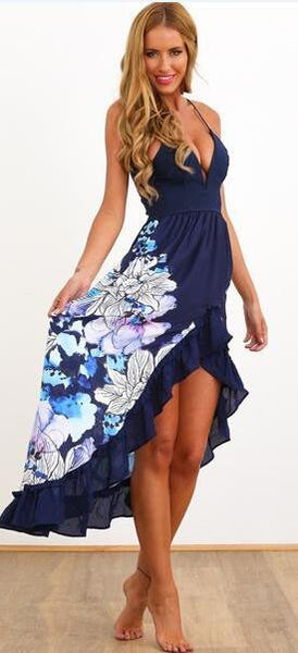 Romoti Plunging Neck Floral Irregular Spaghetti Strap Dress
