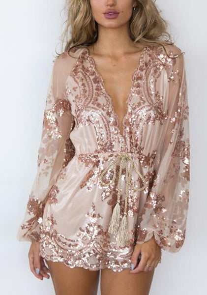Romoti Rose Bud Plunging Neck Long Sleeve Sequins Romper