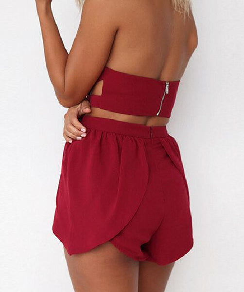 Romoti Saturday Party Strapless V Neck Crop Top &Irregular Shorts Two Piece Set