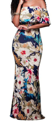 Romoti Saw An Angel Off The Shoulder Cape Overlay Floral Maxi Dress