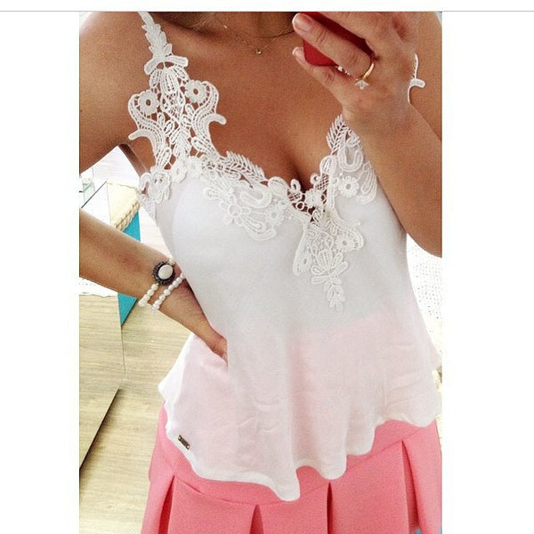 Romoti Sexy Chiffon Lace Crop Top