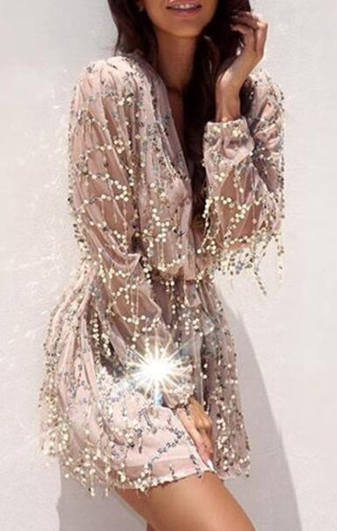 Romoti Shine A Light Sequins Plunging Neck Mini Dress