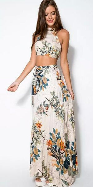 Romoti Shine Bright Floral Crop Top & Long Skirt Two Pieces Dress
