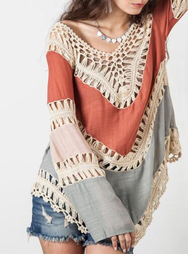 Romoti Show Your Beauty Irregular Long Sleeve Hollow Top