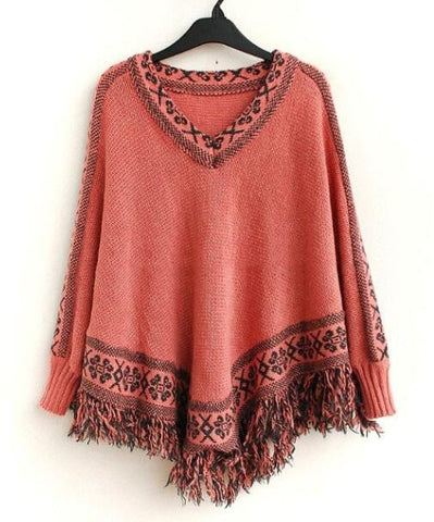 Romoti Stay Beauty Tassel Bat Sleeve Sweater