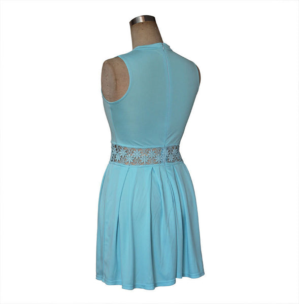 Romoti Stay With Blue Lace Sleeveless Dress