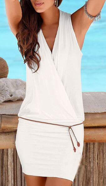 Romoti Stylish Beauty V-neck Sleeveless Beach Dress