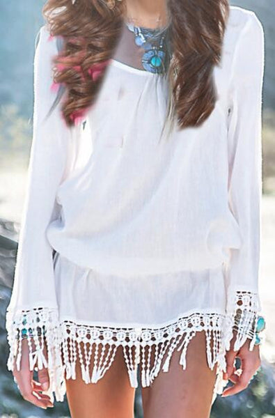Romoti Tassel Long Sleeve White Dress