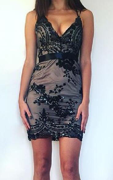 Romoti The Last Dance Black Deep V Neck Floral Sequin Backless Bodycon Dress