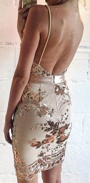 Romoti The Last Dance Khaki Deep V Neck Floral Sequin Backless Bodycon Dress