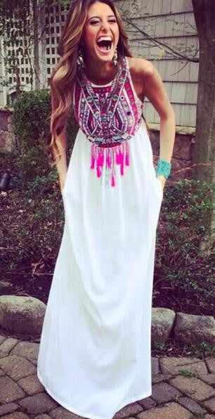 Romoti Totem Print Chiffon Long Dress