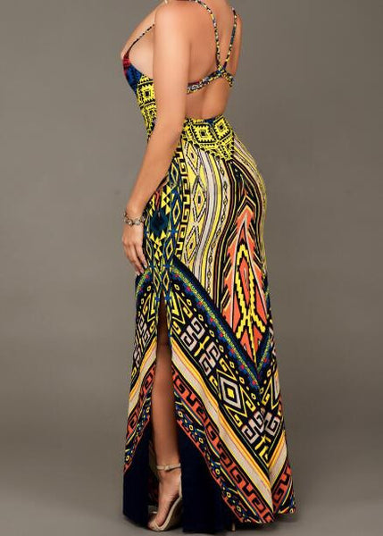 Best For you Tribal Print Slit Long Dress