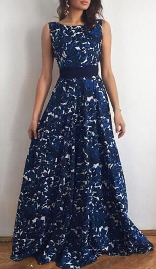 Romoti Wonderful Night Navy Blue Open Back Floral Long Dress