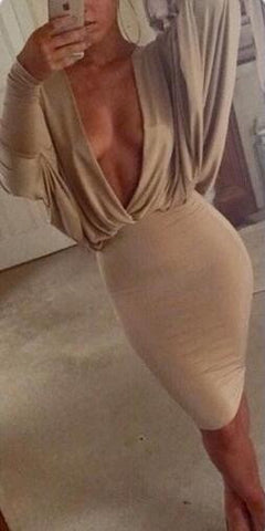 Khaki Bat Sleeve Plunging Neck Dress