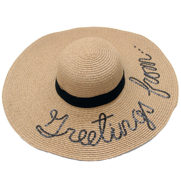 Sequins Letter Straw Hat