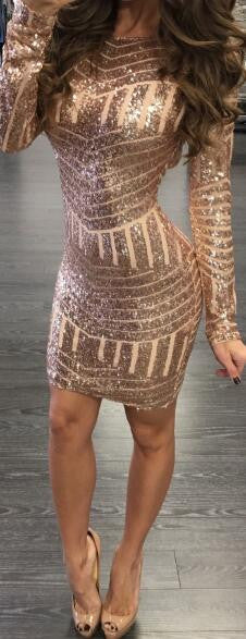 Romoti Sequins Open Back Bodycon Dress