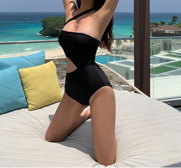 Solid Color Hollow Out Swimsuit