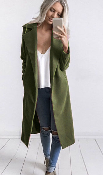 Solid Color Lapel Coat