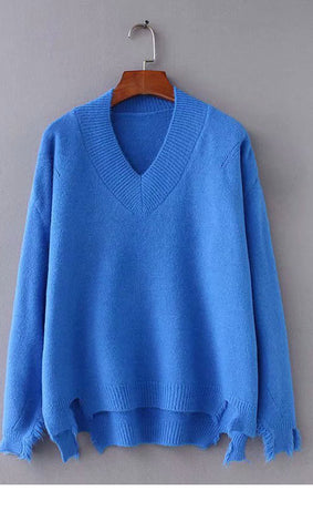 Solid Color V Neck High Low Sweater