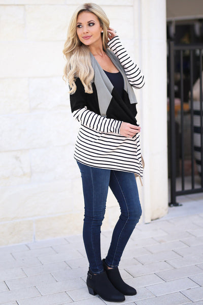 Stripe Splicing Cardigan