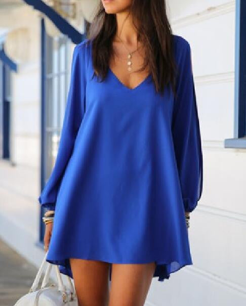 Stylish V-Neck Hollow Out Chiffon Dress