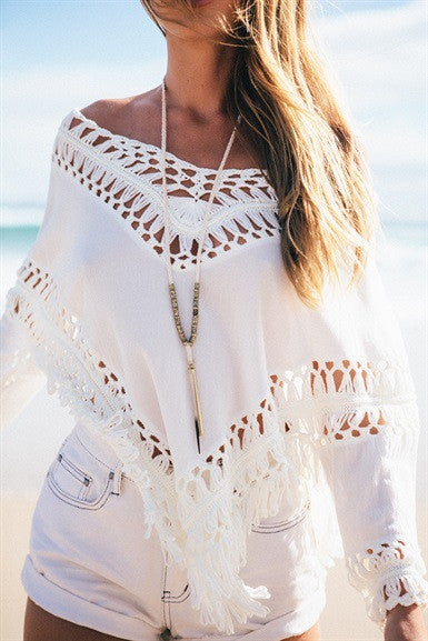 White Hollow Three Quarter Sleeve Top