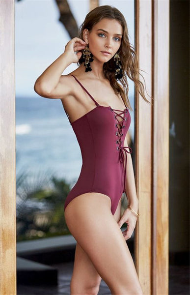 Wine Red One Piece  Lace Up Swimwear
