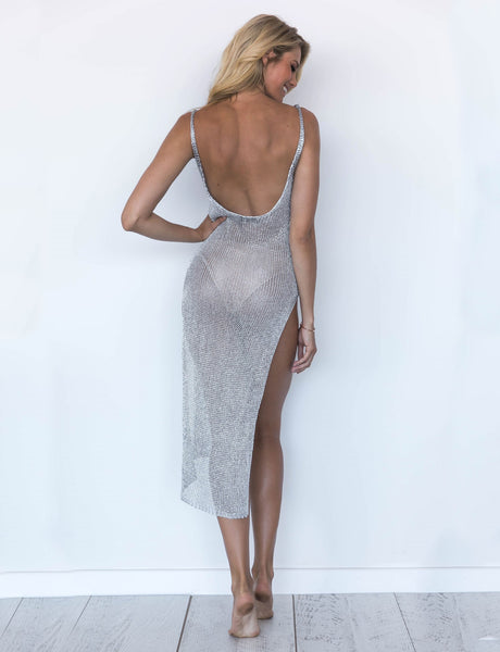 Open Back Hollow Slit Dress