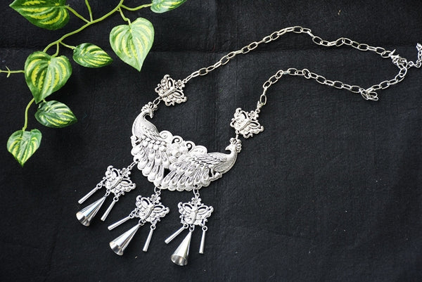 Silver Crystal Tassel BOHO Chain Necklace