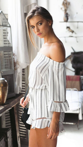 Off The Shoulder Stripe Romper