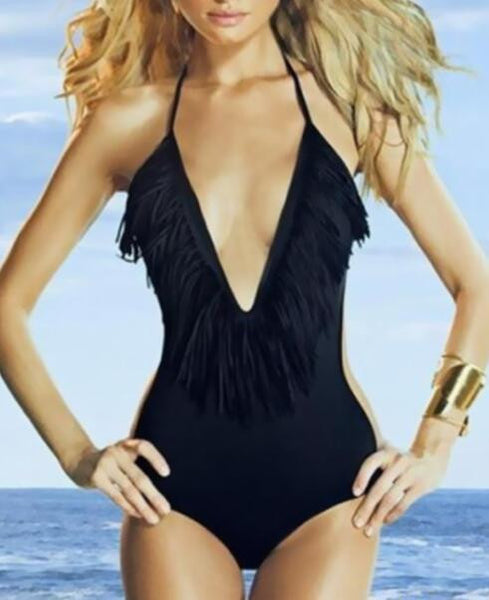 Tassel Halter One Piece Swimsuit