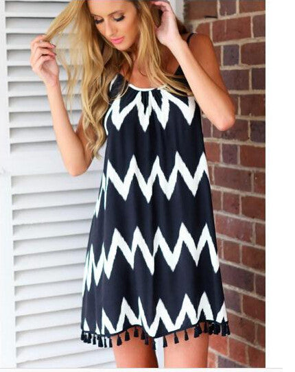 Tassel Halter Zigzag Sleeveless A-line Dress
