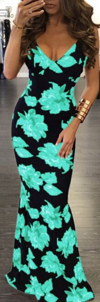 Romoti Stylish Floral Backless Maxi Dress