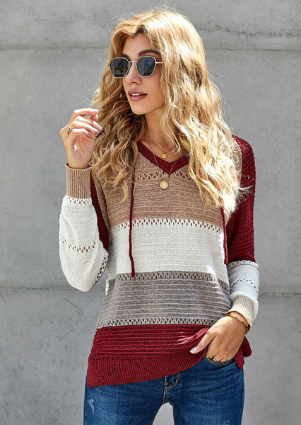 V Neck Hooded Sweater