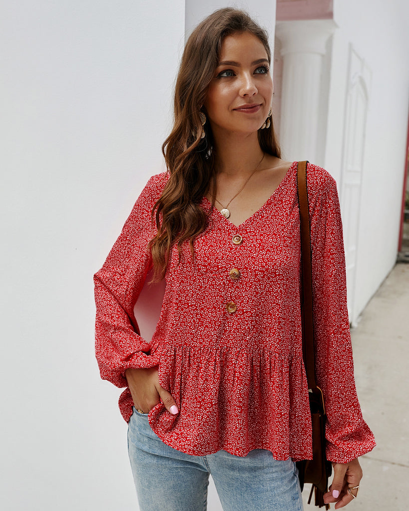 V Neck Long Sleeve Top