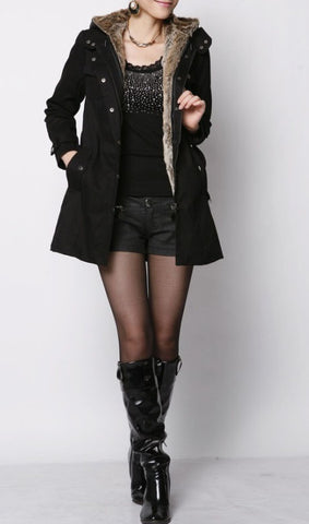 Velvet Hooded Coat