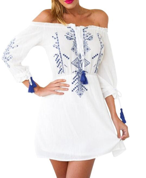 Vintage Graphic Off Shoulder A-line Dress Half Sleeve Dress